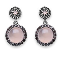 Platadepalo Pink Stone Earrings With Silver And Zircon Pink Purple