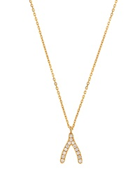 Tai Gold Plated Crystal Wishbone Pendant Necklace