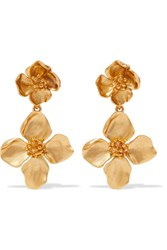 Oscar De La Renta Gold Tone Clip Earrings One Size