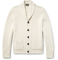 Tom Ford Shawl Collar Ribbed Wool Cardigan Off White