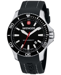 Wenger Men's Swiss Sea Force Black Silicone Strap Watch 43Mm 0641.103