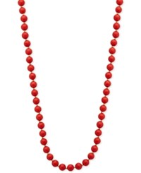 Anne Klein Red Beaded Long Necklace Gold