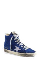 Golden Goose 'Francy' Hidden Wedge High Top Sneaker Women Blue Purple Leather