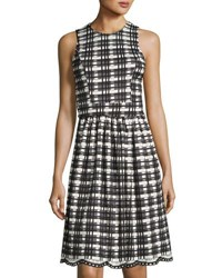 Neiman Marcus Checked Print Fit And Flare Dress Black White