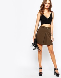 New Look Aline Box Pleat Skirt Khaki