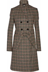 Victoria Beckham Double Breasted Checked Wool Coat Black