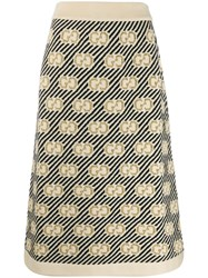 Gucci Gg Stripe Wool Jacquard Skirt Neutrals