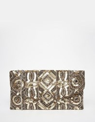 New Look Embellished Clutch Gold