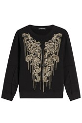 Alexander Mcqueen Embellished Cotton Sweatshirt Black