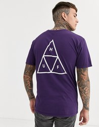 Huf Essentials Triple Triangle T Shirt With Back Print In Purple