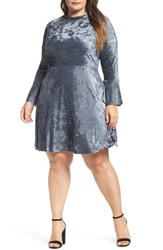 Elvi Plus Size Women's Plisse Velvet Bell Sleeve Dress Blue