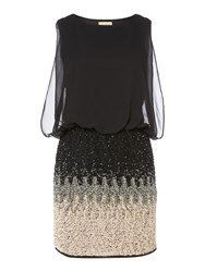 Lace And Beads Sleeveless Blouson Top Ombre Sequin Skirt Dress Black