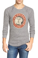Lucky Brand 'Indian Motorcycle' Graphic Waffle Knit Long Sleeve T Shirt Heather Grey