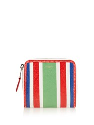 Balenciaga Bazar Zip Around Leather Wallet Green Stripe