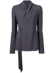 Rick Owens Wrapped Front Blouse Grey