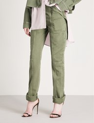 Valentino Strap Detailed Slim Fit Skinny Jeans Army