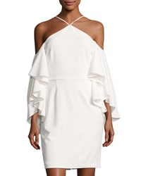 Alexia Admor Flutter Sleeve Halter Neck Crepe Dress Off White