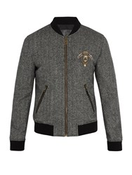 Dolce And Gabbana Crest Applique Wool Blend Bomber Jacket Grey White