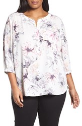 Nydj Plus Size Women's Henley Top Early Spring Bouquet