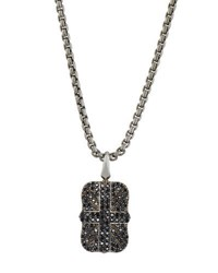 Stephen Webster Men's Pave Black Sapphire Union Jack Dog Tag Necklace Silver