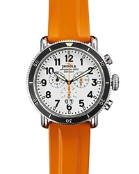 Shinola The Runwell Sport Chronograph Watch 48Mm Orange Rubber White