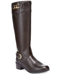 Karen Scott Darlaa Wide Calf Riding Boots Women's Shoes Dark Brown