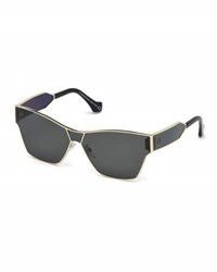 Balenciaga Metal Monochromatic Shield Sunglasses Gold Smoke