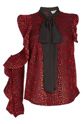 Self Portrait Cut Out Devore Blouse With Ruffles And Tie Bow Red