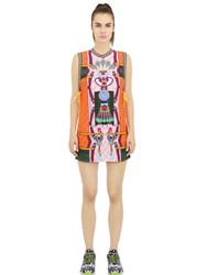 Adidas Originals By Mary Katrantzou Tennis And Clock Print Techno Crepe Dress