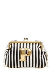 Melie Bianco Striped Initial Pouch P Multi