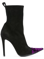 Haider Ackermann Crushed Velvet Ankle Boots Black