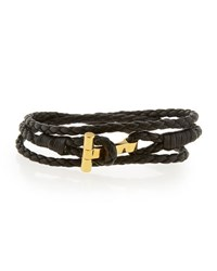 Tom Ford Men's Leather T Wrap Bracelet Small Black