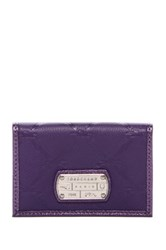 Longchamp Leather Card Holder Flip Wallet Purple