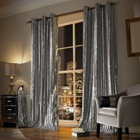 Kylie Minogue At Home Iliana Lined Eyelet Curtains Silver