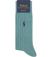 Polo Ralph Lauren Eqyptian Cotton Ribbed Socks Aqua