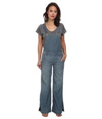 Free People Washed Chambray D Ring Back Overall In Bee Wash Bee Wash Women's Overalls One Piece Blue