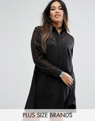 Alice And You Lace Insert Shirt Dress Black