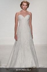 Women's Matthew Christopher 'Adaline' Strapless Lace A Line Gown In Stores Only