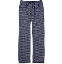 Derek Rose Checked Cotton Flannel Pyjama Trousers Blue