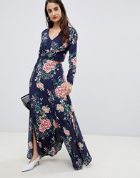 Liquorish Floral Print Cutaway Maxi Dress Navy