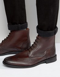Lambretta Brogue Boots In Burgundy Leather Red