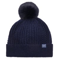 Joules Bobble Lambswool Blend Bobble Hat Navy