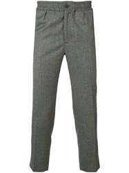 Ami Alexandre Mattiussi Elasticized Waist Cropped Fit Trousers Grey