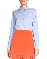 Carven Rayures Long Sleeve Striped Poplin Top Blue White Blanc And Bleu