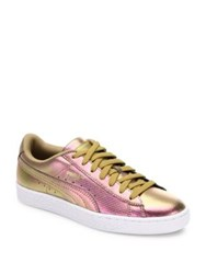 Puma Basket Holographic Leather Sneakers Holographic Yellow