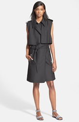 Tracy Reese Sleeveless Stretch Cady Trench Coat Black