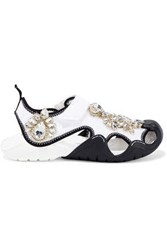 Christopher Kane Crocs Swiftwater Crystal Embellished Cutout Mesh Sandals White