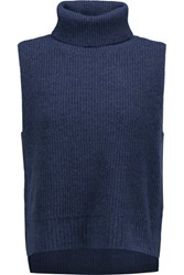 Magaschoni Ribbed Wool And Cashmere Blend Turtleneck Sweater Midnight Blue