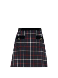 Miu Miu High Rise Velvet And Checked Twill Mini Skirt Navy Multi