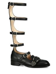 Gucci Queercore Buckle Leather Gladiator Knee High Boots Black